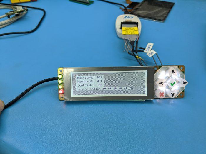 The CFA10052 running some demo custom firmware