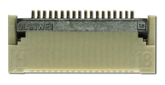 An 18-pin, .5 mm pitch, gold top and bottom ZIF connector