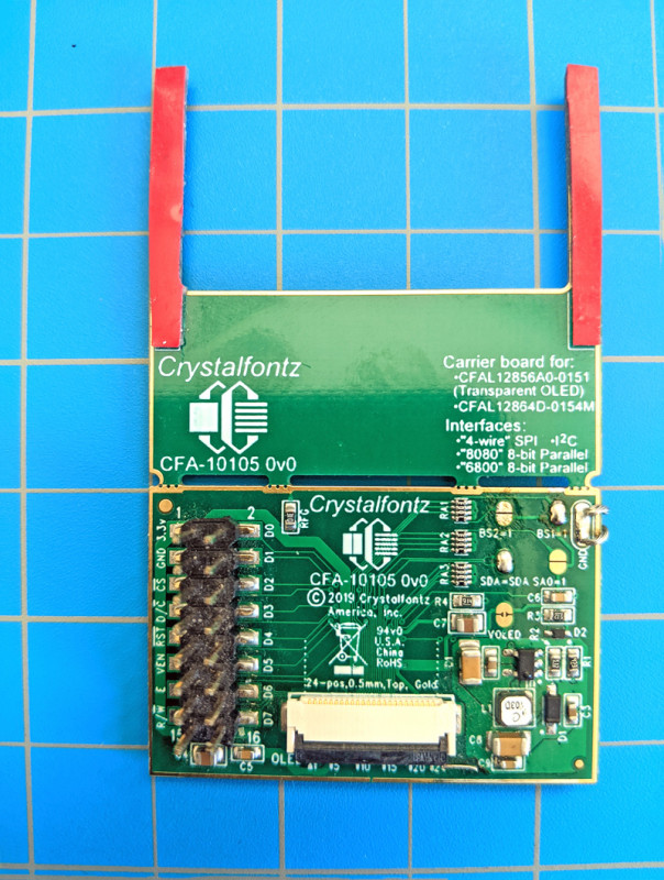 CFA10105 breakout board with BS1=1 and SDA=SDA jumpers soldered closed