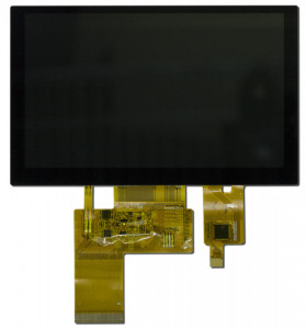 5 inch display with a capacitive touchscreen. There are two tails on the display, one for the display and one for the touchscreen.