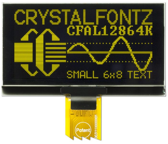 Crystalfontz 128x64 Small Yellow OLED