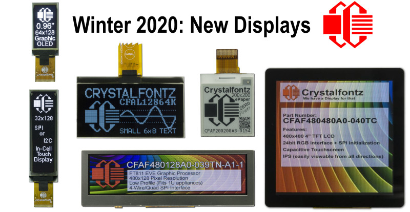 """Image title text """"Winter 2020: New Displays"""" Crystalfontz Logo. An image of six displays - displays listed below in text. Each display is displaying information about the individual display."""