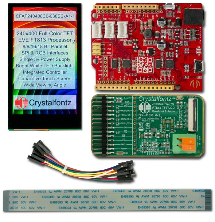 "Shows everything included in a CFAF240400C0-030SC-A1-2 development kit: a ""-1"" module (kit and EVE board), Seeedunio, CFA10098, jumper wires, and a ribbon cable"