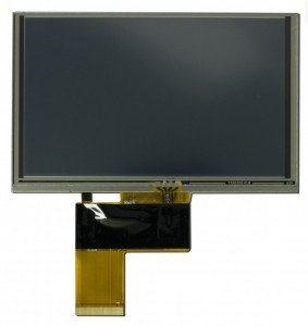 """5"""" display with a resistive touchscreen. The tail from the touchscreen is attached to the main display tail."""