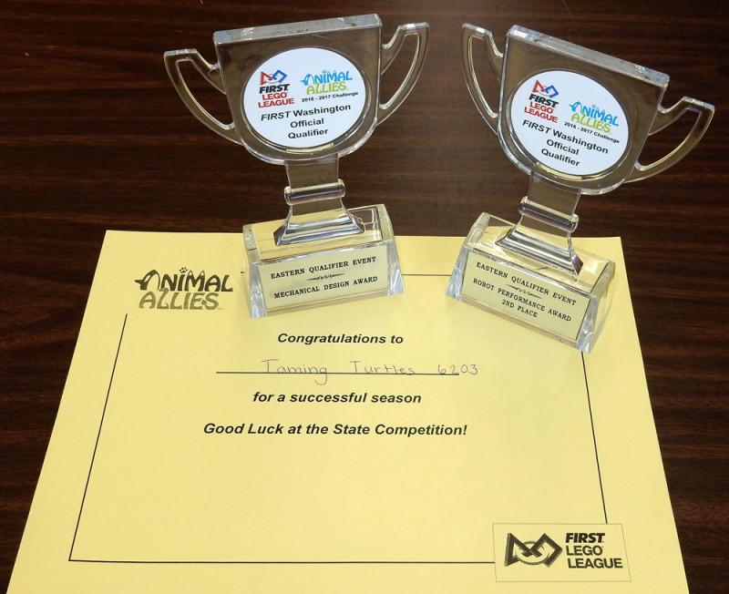 Lego League Washington State Award - team sponsored by Crystalfontz America