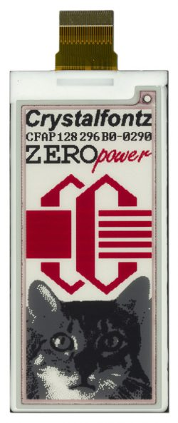 "CFAP128296B0-0290 is a 2.90"" graphic e-paper display, red + 3-level grayscale ‒ front view with power off, FPC unfolded."