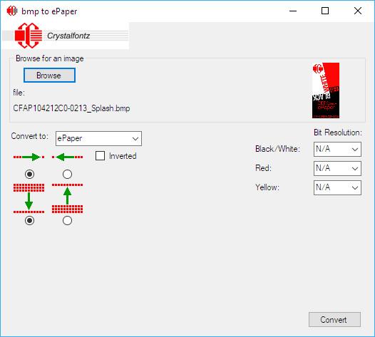 Bitmap to ePaper Converter (BMPTOEPAPER) from Crystalfontz