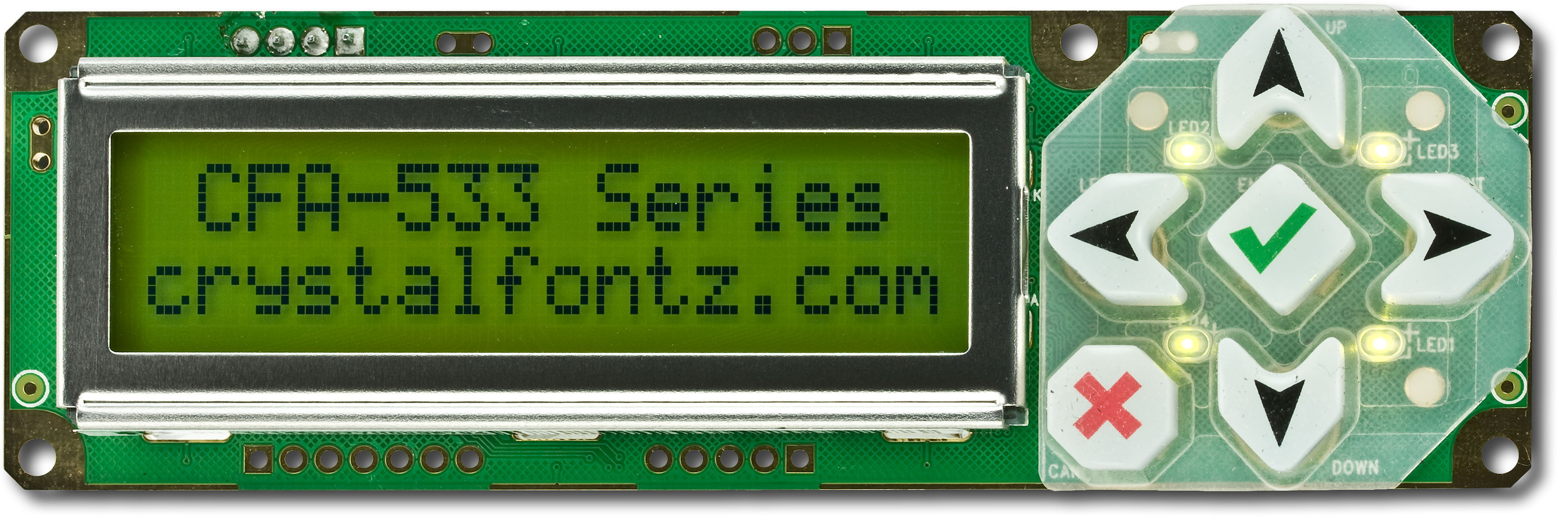 16x2 RS232 Character LCD, Yellow-Green