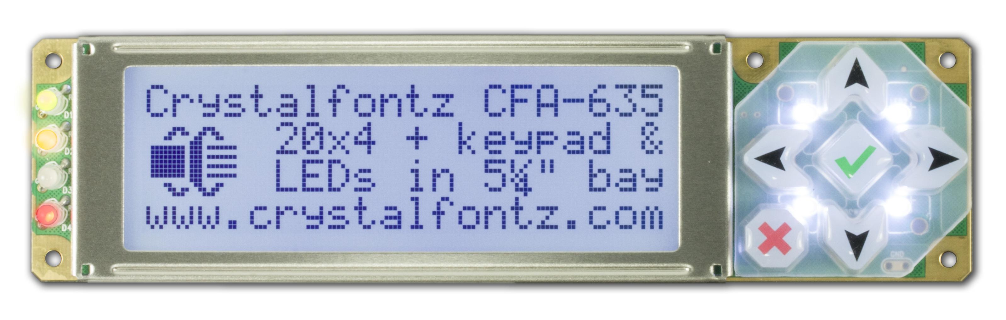 20x4 Rs232 Character Lcd Cfa635tfkks From Crystalfontz Rs 232 Powered Temperature Sensor Cfa635 Tfk Ks