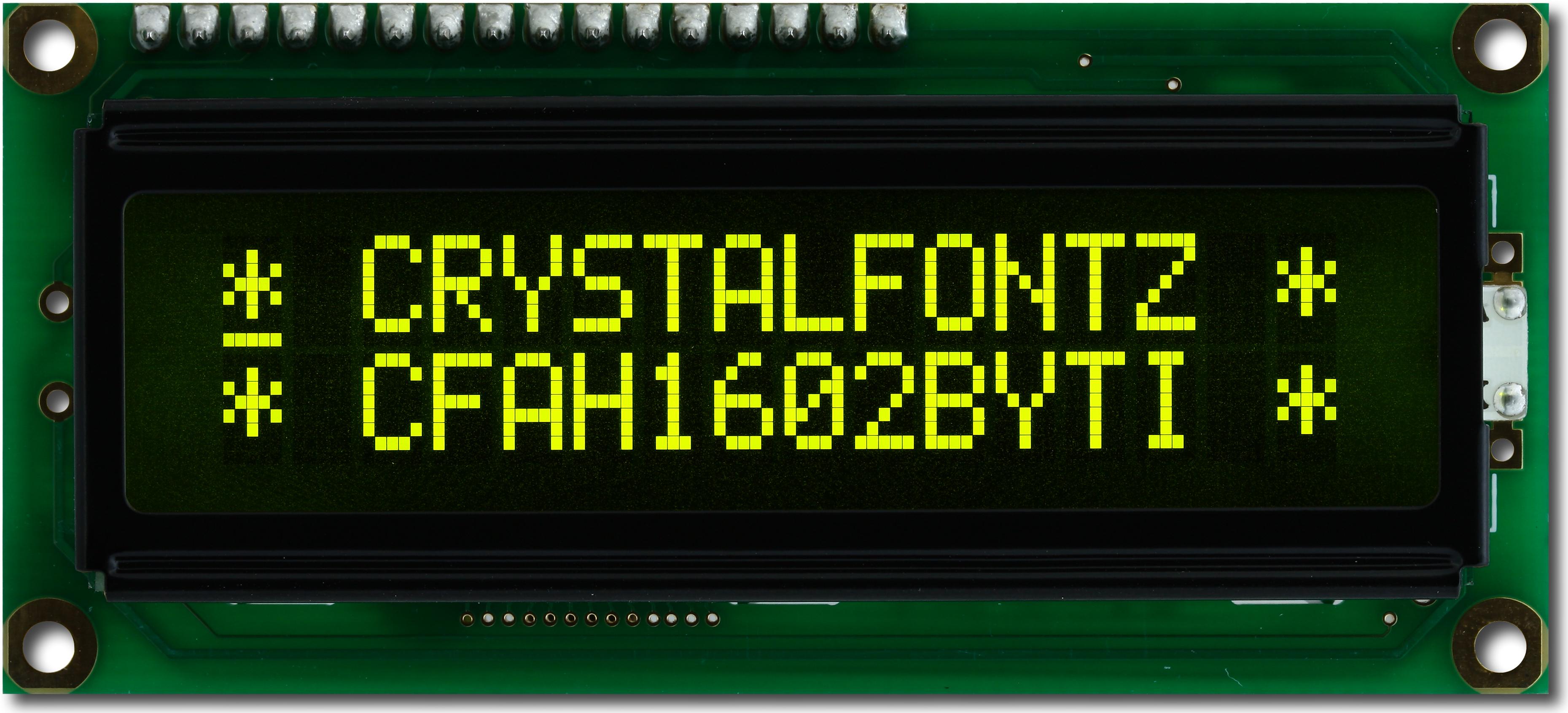 16x2 Yellow on Dark Character LCD
