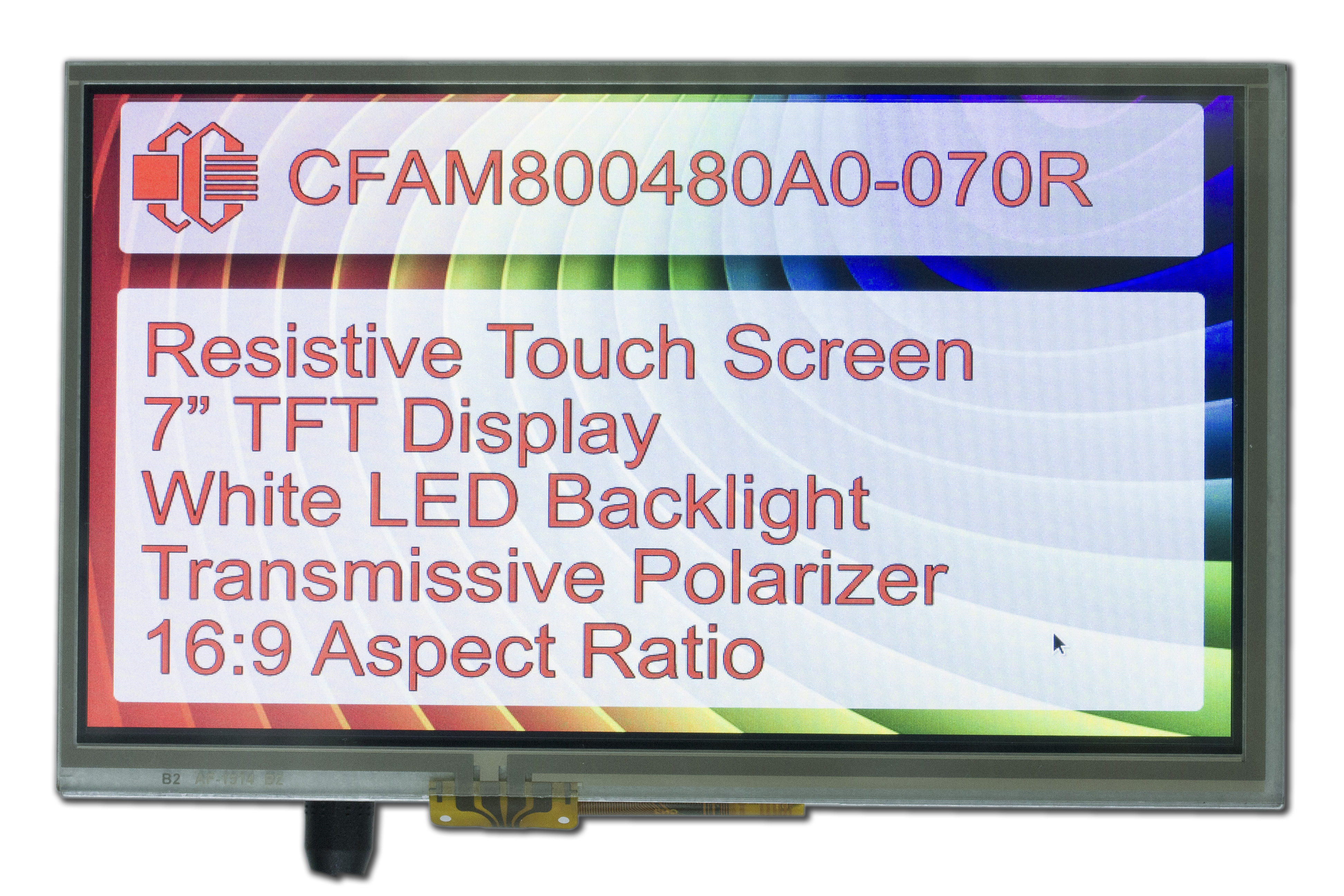 800x480 7 Inch TFT with Resistive Touch Screen
