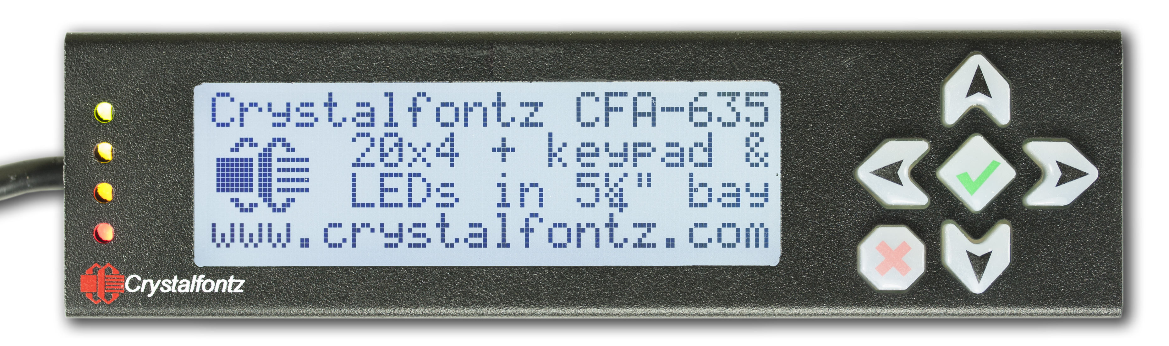 20x4 USB LCD Display in Steel Enclosure Black on Gray