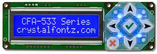 White on Blue 16x2 Character LCD RS232 (CFA533-TMI-KS)