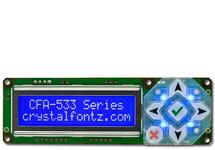 White on Blue 16x2 Character LCD RS232 CFA533-TMI-KS