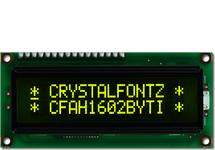 16x2 Yellow on Dark Character LCD CFAH1602B-YTI-JT