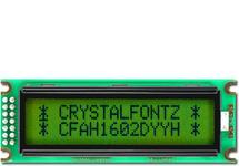Sunlight Readable 16x2 Character LCD CFAH1602D-YYH-ET