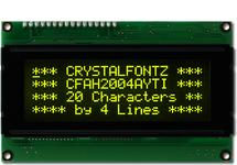 Yellow on Black 20x4 Character Display CFAH2004A-YTI-JT