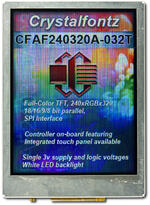The CFAF240320A-032T is a 3.2 240x320 color TFT LCD display. Image shows how camera perceives the display