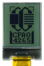 The CFAO4265A-TFK is a 1.0 42x65 dark on light gray LCD display – front view, power on, backlight off, tail cropped.