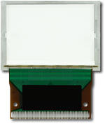 The CFAX12864T-TFH is a 128x64 dark on light gray LCD display – back view, tail unfolded.