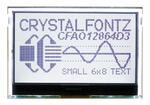 The CFA212-TFH is a complete development kit with a Seeeduino (Arduino Uno R3 clone), and a 128x64 CFAO12864D3-TFH graphic LCD display (power on, backlight on) mounted on a CFA-10072 board. This is the front view showing the display with a bit of the CFA-10072 board visible behind it. The included Arduino is behind the CFA-10072.