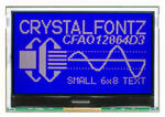 The CFA212-TMI is a complete development kit with an Seeeduino (Arduino Uno R3 clone), and a 128x64 CFAO12864D3-TMI graphic LCD display (power on, backlight on) mounted on a CFA-10072 board. This is the top view showing the display with a bit of the CFA-10072 board visible behind it. The included Arduino is below the CFA-10072.