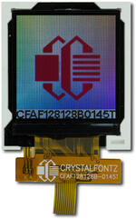 The CFAF128128B-0145T is a 1.44 inch 128x128 color TFT LCD display. Image is as the camera perceives the display.