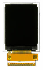 The CFAF240320E-022T is a 2.2 inch 240x320 color TFT LCD display - Front View, Display Power Off, Tail Unfolded