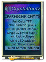 CFAF240320K-024T-TS 2.4 240x320 Color TFT Display, Resistive Touch Screen, 8-bit | 16-bit parallel. Appears as the camera perceives the display