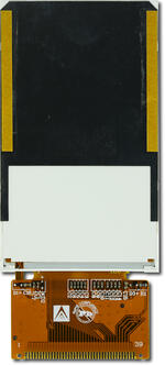 The CFAF240400D-030T is a 3.0 240x400 color TFT LCD display. Rear view with unfolded tail.