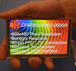 800x480 Resistive Touchscreen TFT Display, in hand to show size and perspective, display powered on.