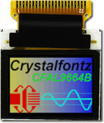 This CFAL9664B-F-B1 is a 0.95 96x64 full color OLED display – front view, power on, tail unfolded. Image is as the eye perceives the display.
