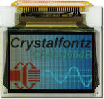 This CFAL9664B-F-B1 is a 0.95 96x64 full color OLED display – front view, power on, tail unfolded. Image is as the camera perceives the display. Zoom-in to see sub-pixel detail.