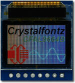 CFAL9664B-F-B1-CB has a carrier board with a full color 0.95 96x64 OLED. Image is as the camera perceives the display. Zoom-in to see sub-pixel detail.