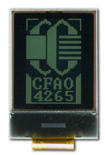 The CFAO4265A-TTL is a 1.0 42x65 white on dark LCD display – front view, power on, backlight off, tail cropped.