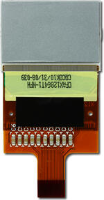 The CFAX12864T1-NFH is a 128x64 dark on light gray LCD display – back view, tail unfolded.