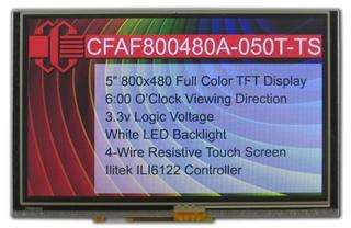 "5"" 800x480 Touch Screen Color TFT (CFAF800480A-050T-TS)"