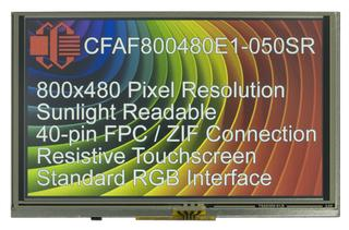 "5"" IPS Sunlight Readable Resistive Touchscreen TFT Display (CFAF800480E1-050SR)"