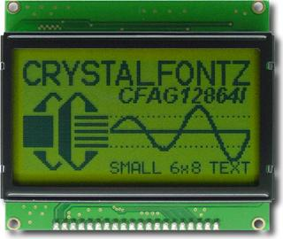 128x64 Black on Green Graphic LCD (CFAG12864I-YYH-TN)