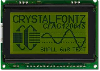 Sunlight Readable 128x64 SPI or Parallel Graphic LCD (CFAG12864S-YYH-VT)