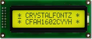 Sunlight Readable 16x2 Yellow Character LCD (CFAH1602C-YYH-JT)