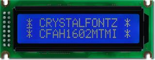 White on Blue 16x2 Character LCD (CFAH1602M-TMI-ET)