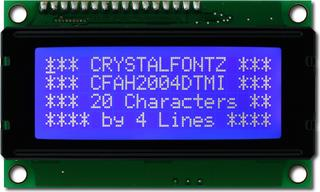 20x4 Character White on Blue LCD (CFAH2004D-TMI-ET)