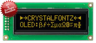16x2 Yellow Sunlight Readable OLED With SPI (CFAL1602C-PYT)