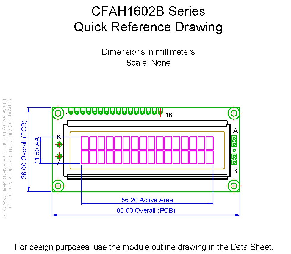 CFAH1602B_mech_mm  X Character Lcd Datasheet on connection lpc1768, shield assembly, blue display black text, wiring adapter, arduino nano, el foil, display case stl, cursor location, pin configuration, screen pinout, display module,